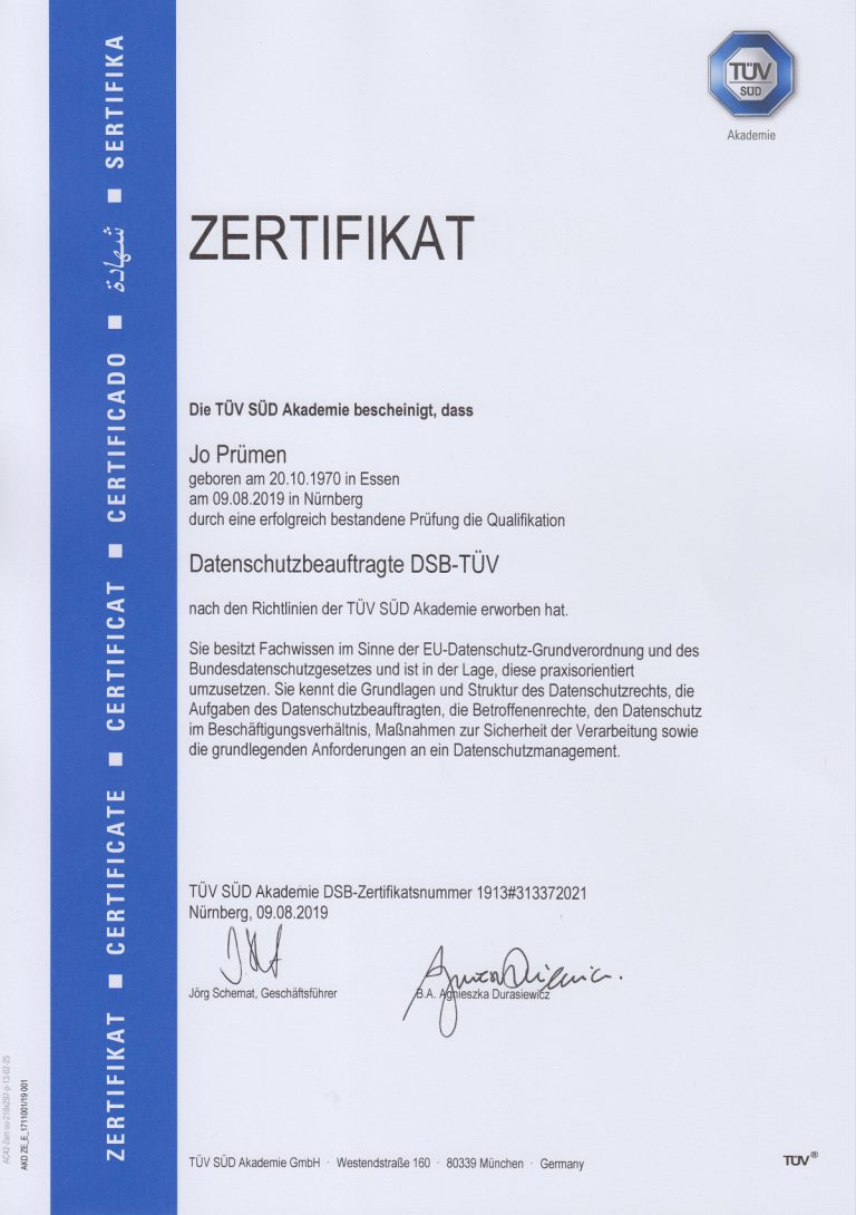 Datenschutzbeauftragter TÜV SÜD