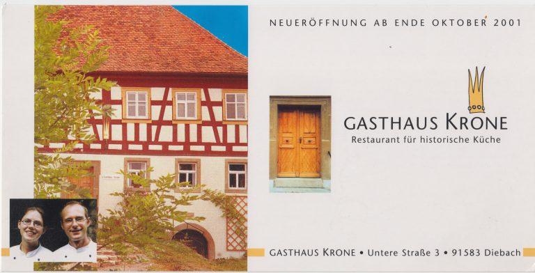 Eröffnungsanzeige Gasthaus Krone, Diebach