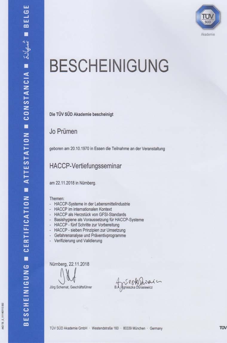 Regelmäßige Fortbildungen HACCP